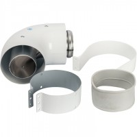 STOUT   Элемент дымохода DN60/100 адаптер для котла угловой 90° коаксиальный (совместимый с Vaillant, Protherm NEW)(с логотипом)