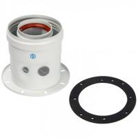 STOUT   Элемент дымохода DN60/100 адаптер для котла вертикальный коаксиальный (совместимый с Bosch, Buderus)(с логотипом)