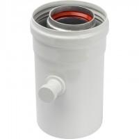 STOUT   Элемент дымохода  конденсатосборник горизонт.  DN60/100, п/м уплотнения в компл. с лого.