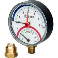STOUT SIM-0006 Термоманометр радиальный в комплекте с автоматическим запорным клапаном. Корпус Dn 80 мм 1/2