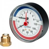 STOUT SIM-0005 Термоманометр аксиальный в комплекте с автоматическим запорным клапаном. Корпус Dn 80 мм 1/2