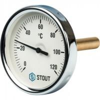 STOUT SIM-0001 Термометр биметаллический с погружной гильзой. Корпус Dn 80 мм, гильза 75 мм 1/2