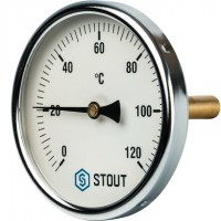 STOUT SIM-0001 Термометр биметаллический с погружной гильзой. Корпус Dn 100 мм, гильза 75 мм 1/2