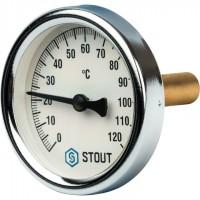 STOUT SIM-0003 Термометр биметаллический с погружной гильзой. Корпус Dn 63 мм, гильза 50 мм, резьба с самоуплотнением 1/2