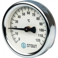 STOUT SIM-0004 Термометр биметаллический накладной с пружиной. Корпус Dn 63 мм, 0...120°С, 1
