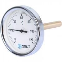 STOUT SIM-0001 Термометр биметаллический с погружной гильзой. Корпус Dn 80 мм, гильза 100 мм 1/2