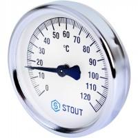 STOUT SIM-0004 Термометр биметаллический накладной с пружиной. Корпус Dn 80 мм, 0...120°С, 1